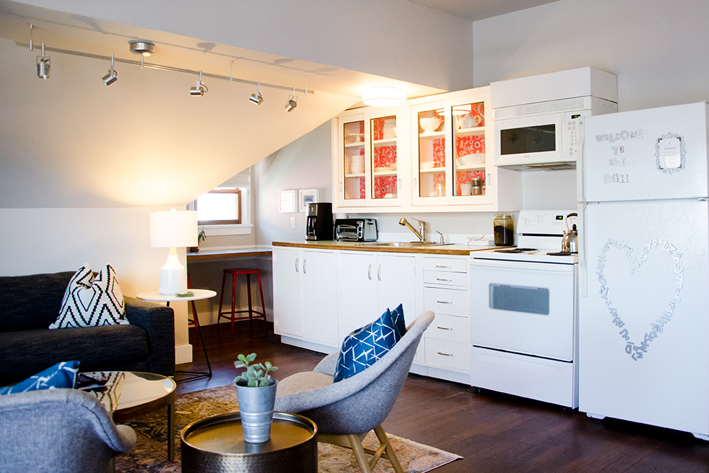 View of the Treetop Suite's kitchenette and breakfast bar area